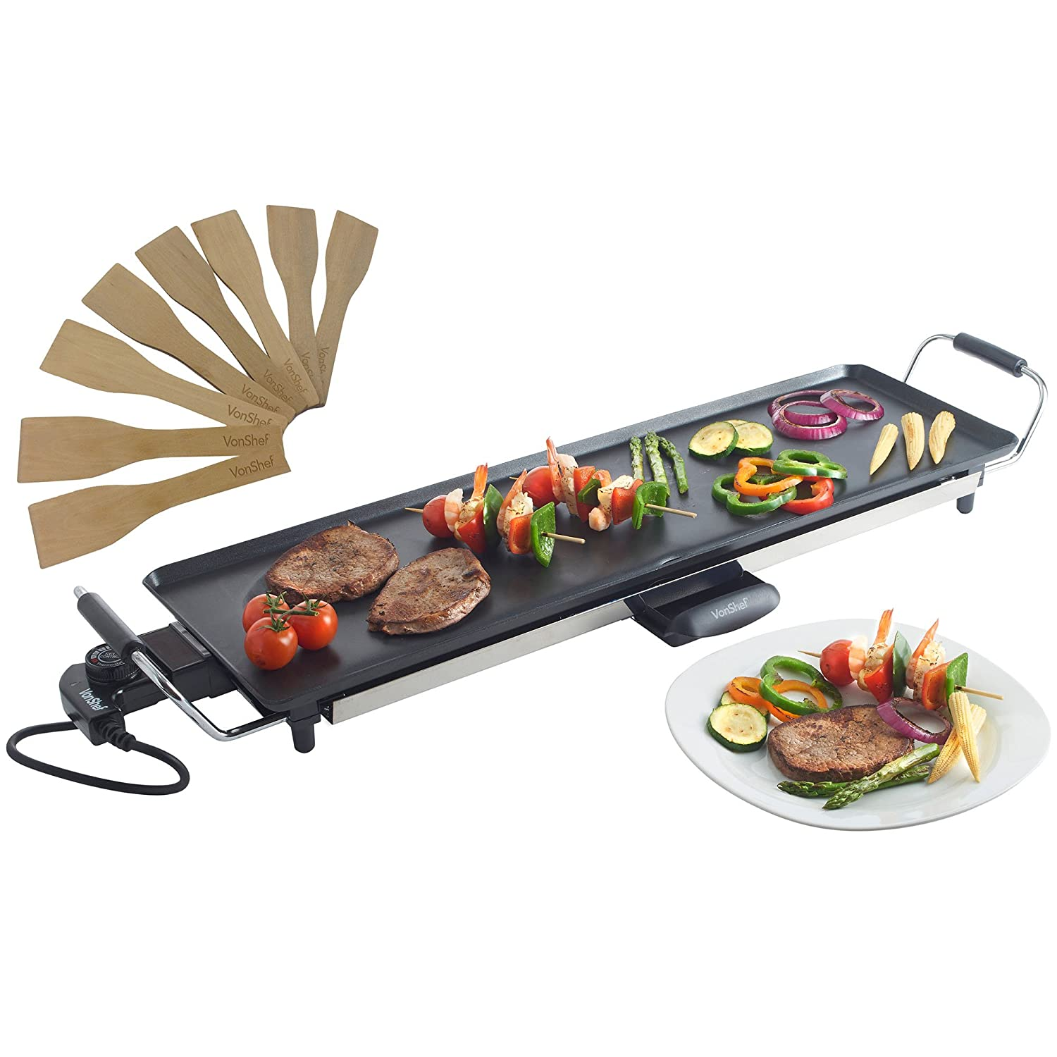 Uncategorized Teppanyaki Home vonshef electric xl teppanyaki style barbecue table grill griddle with adjustable temperature and 8 spatulas control 2000 watts