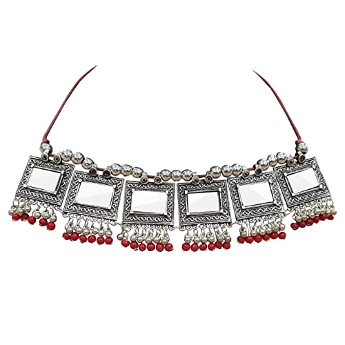 46c6ac6e9c4f8d Buy Peora Ethnic Silver Oxidised Antique Square Mirror Red Choker ...