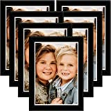 Interio Crafts Wooden and Glass Photo Frame Collage for Walls Decoration (8x12 Inch/A4 Size, Black) - Pack of 7