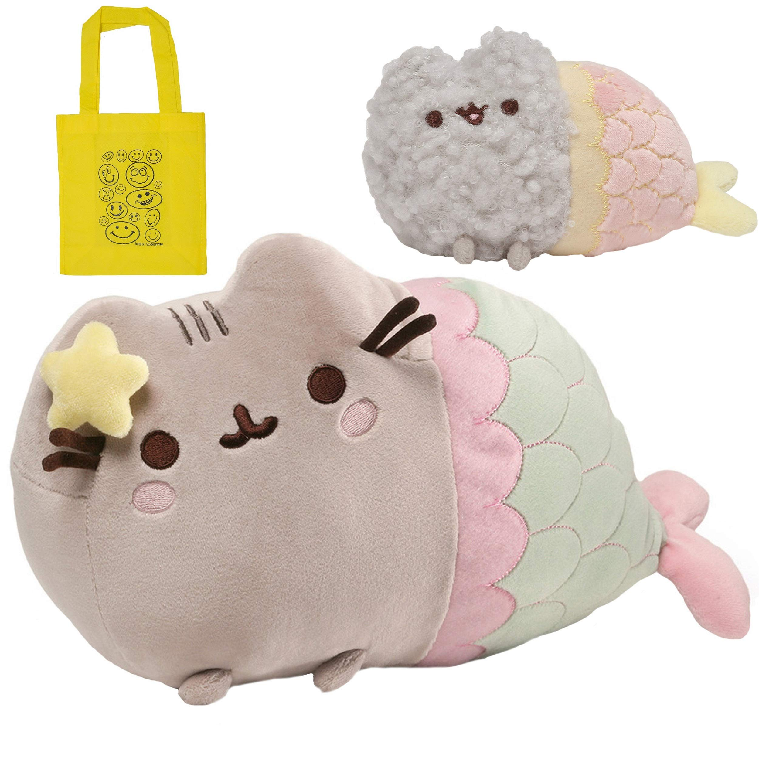 Pusheen GUND Mermaid 12'' Plush, Stormy Mermaid Plush Toy & Tote Bundle Set by Pusheen