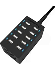 Sabrent 60 Watt (12 Amp) 10-Port [UL Certified] Family-Sized Desktop USB Rapid Charger. Smart USB Ports with Auto Detect Technology [Black] (AX-TPCS)