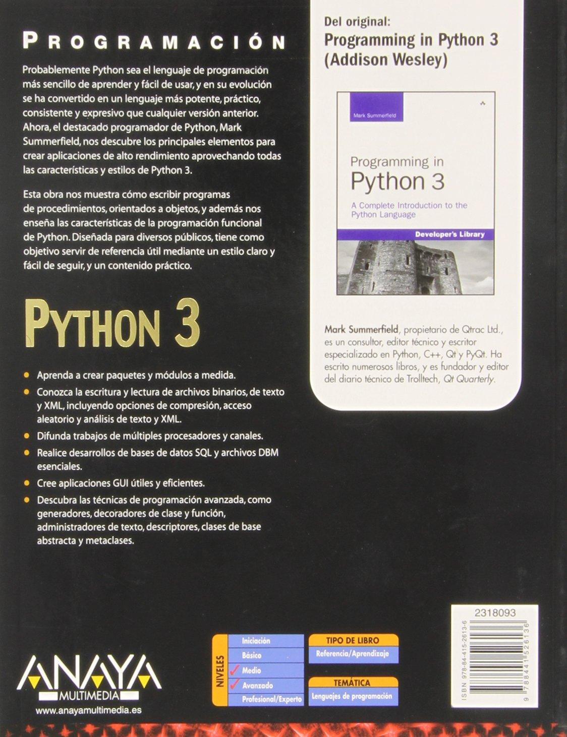 PROGRAMACION PYTHON 3 ANAYA EPUB
