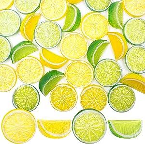 SNAIL GARDEN 30Pcs Artificial Lemon Slices Blocks, 20Pcs Simulation Lemon Slice+10Pcs Fake Lemon Block-Decorative Fake Fruit Model for Party Kitchen Wedding Decoration Kid Cognitive Toys(Yellow Green)