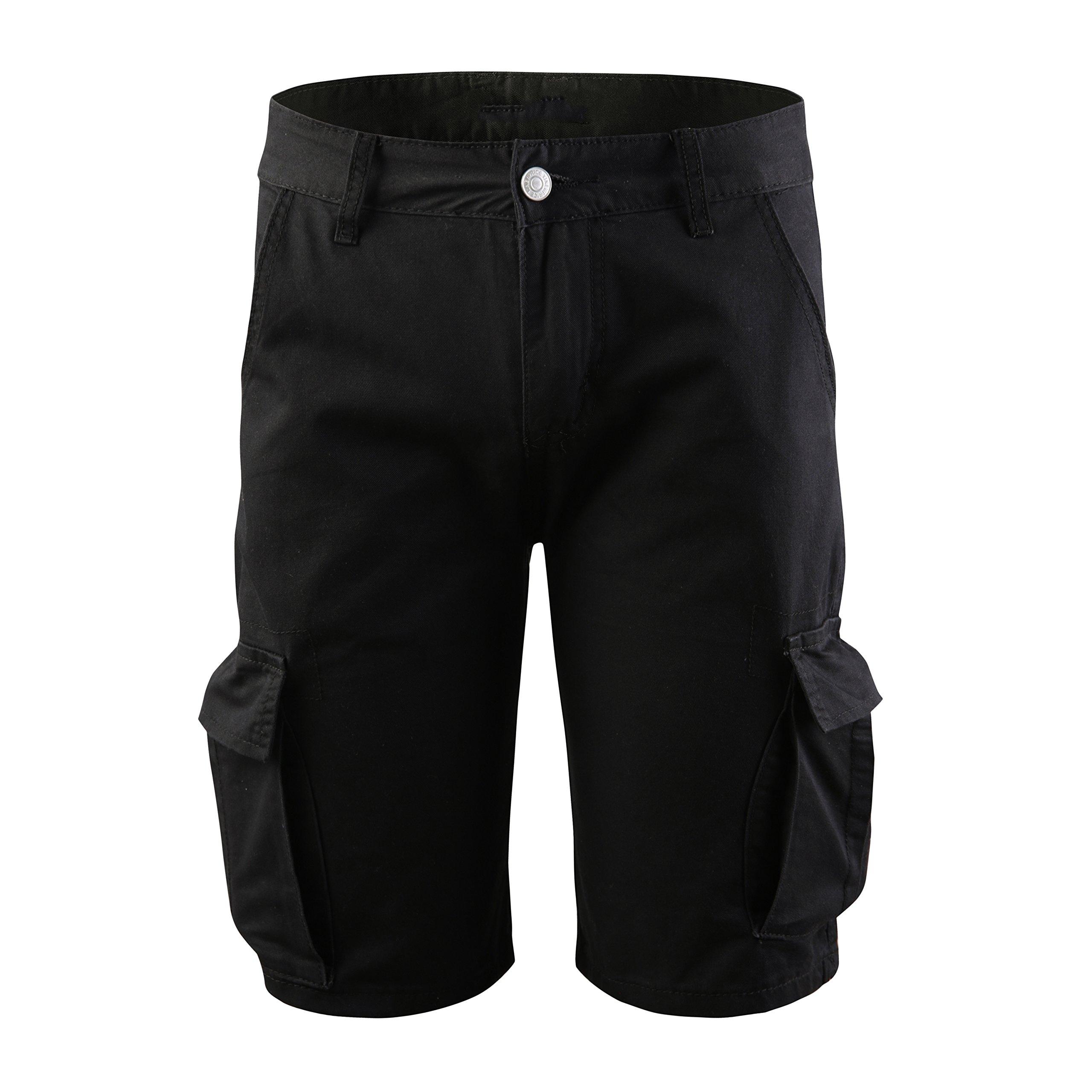 Winwinus Men's Multi-Pockets Fine Cotton Outdoor Straight Loose Cargo Short Black XL