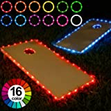 Frienda Cornhole Lights, 16 Colors Change Cornhole Board Edge and Ring LED Lights with Remote Control for Family…
