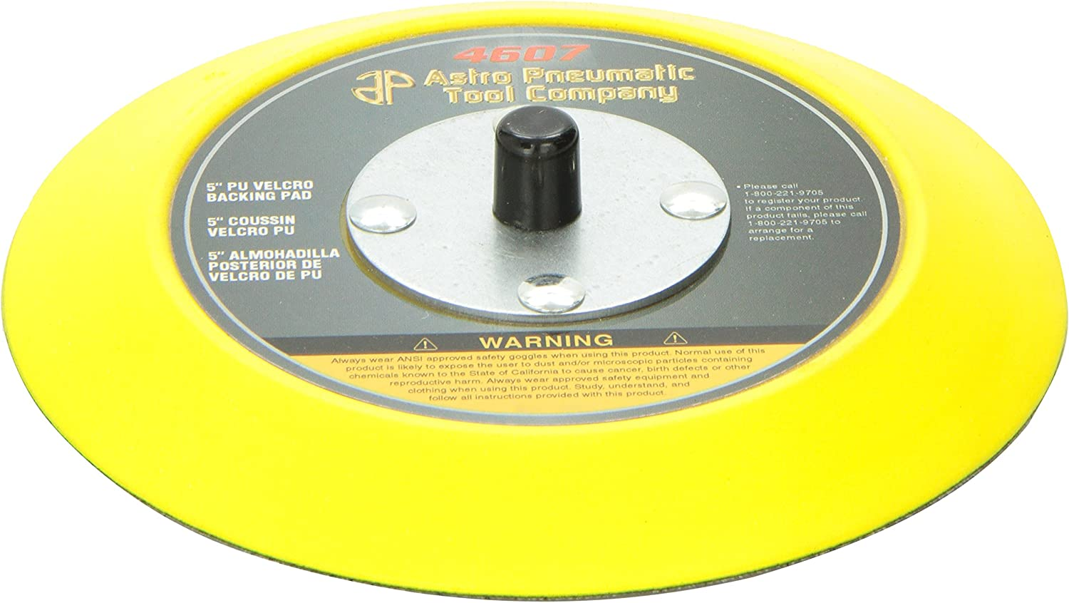 """ASTRO PNEUMATIC 4607 Backing Pad,5/"""",PU Hook-and-Loop"""