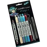 Copic Ciao - Juego de rotuladores (5 unidades, doble punta, incluye rotulador de punta fina 0,3 mm, para dibujar manga), tonos brillantes