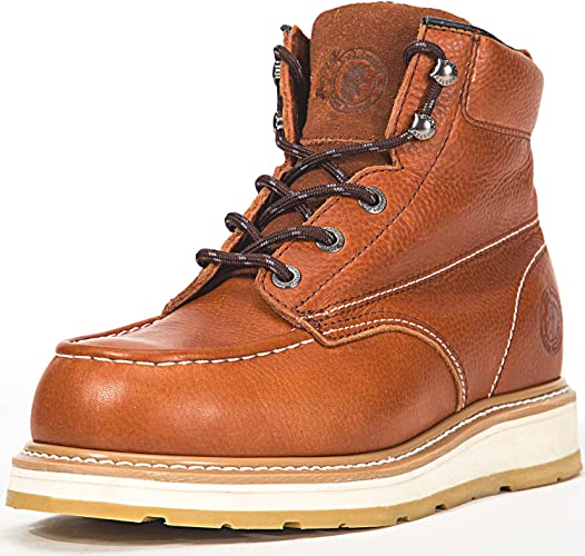 Mens Smooth Genuine Leather Work Boots Oil Resistant Wedge Sole Soft Toe