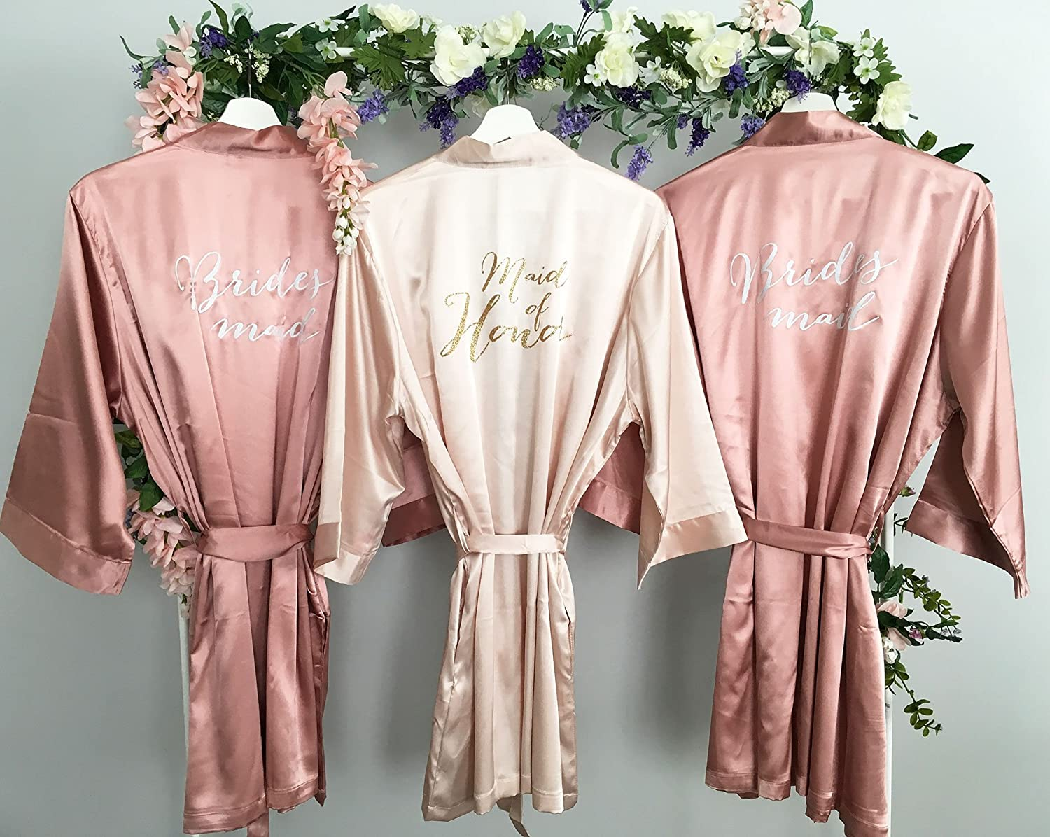Amazon.com Bridesmaid Robe, Maid of Honor Robe, Set of 3 Satin Robes,  Blush, Rose Gold, Mauve, Dusty Rose, Vintage Pink Wedding, Bridal Party  Robes,