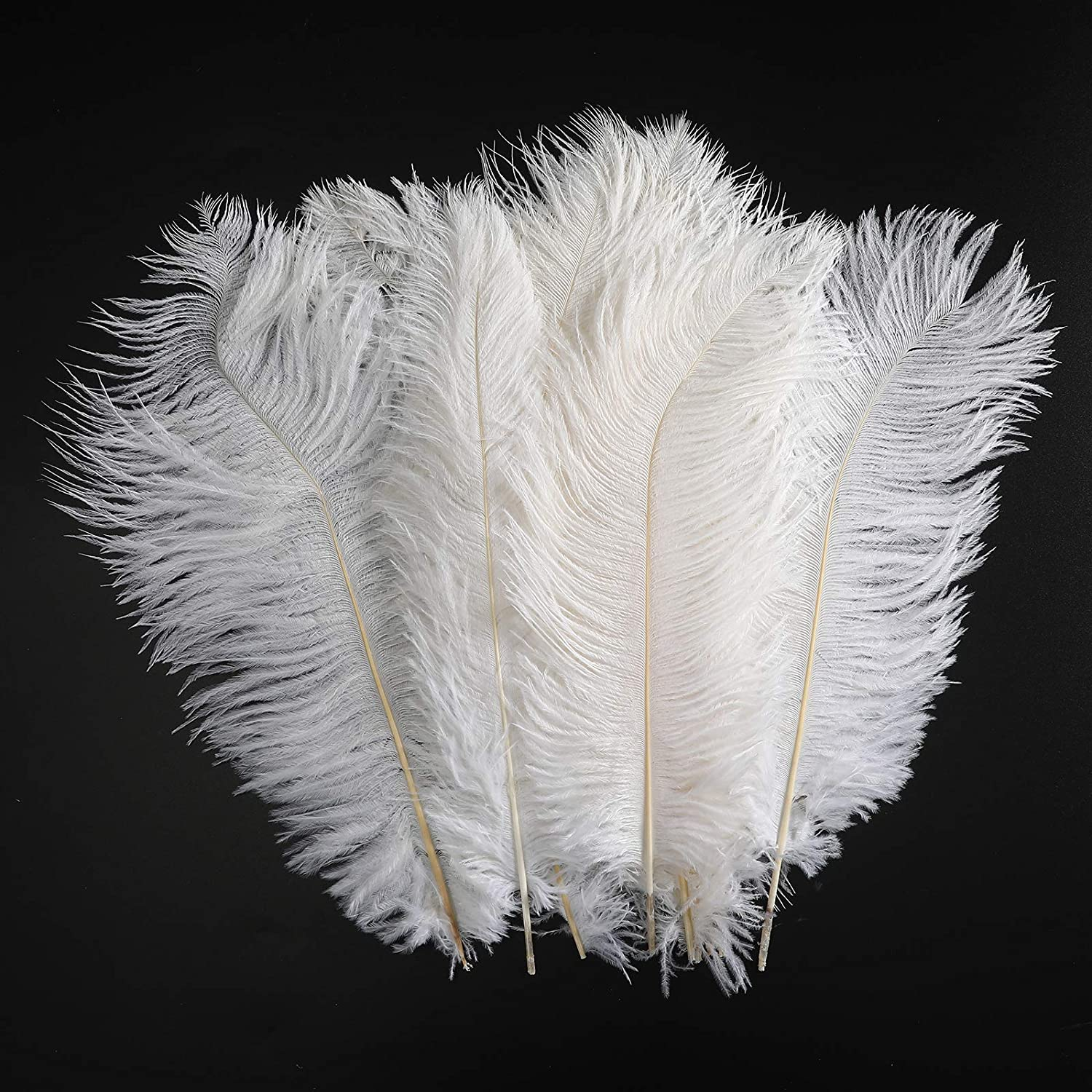 Ostrich Feathers Decoration Crafts Bulk - 20pcs Natural Plumas Decor for Home Wedding Party DIY Feather Erikord(7-10inch, White)