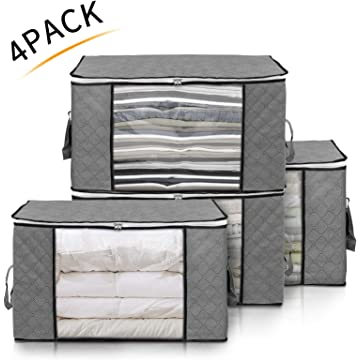 king do way 4Pack Storage Bags Clothes Organizer Containers with Strengthen Handle, Anti-Mold Fabric Under-Bed Storage Bags for Comforters, Blankets, Bedding with Sturdy Zipper, Clear Window