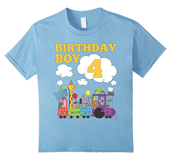 Kids Train Birthday Shirt 4 For Boys Baby Blue