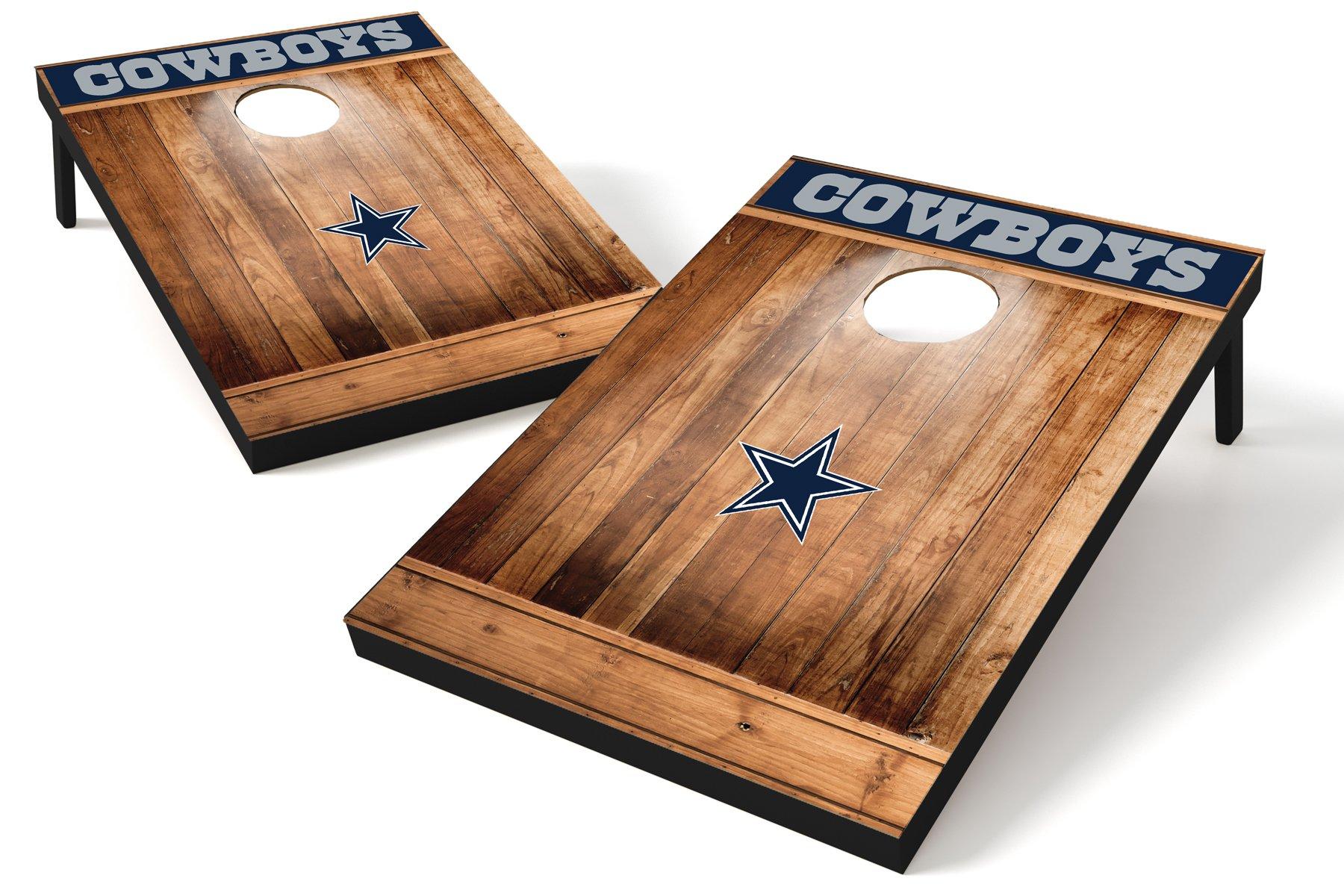 Wild Sports NFL Dallas Cowboys 2'x3' Cornhole Set - Brown Wood Design