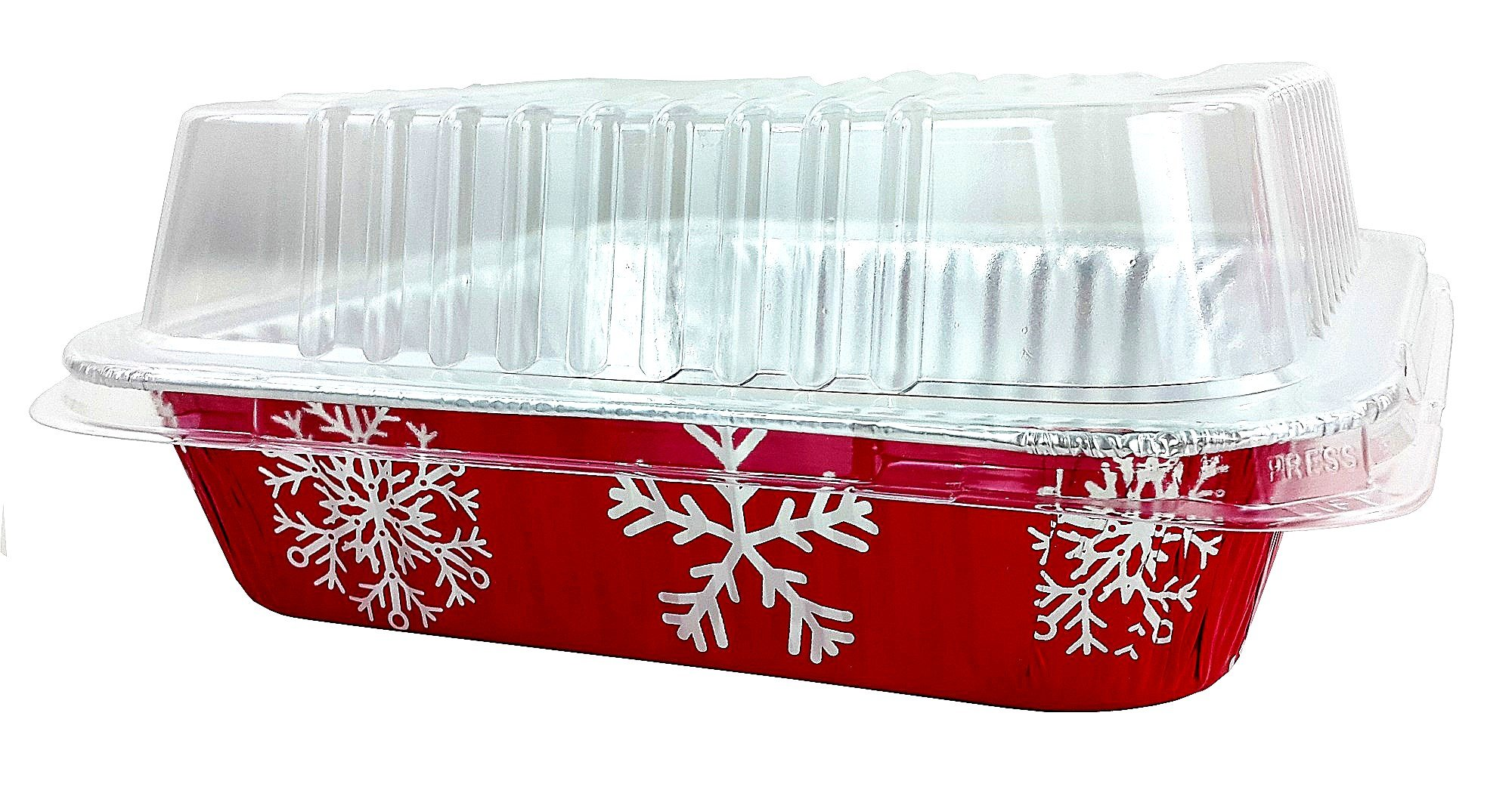 Pactogo Red Holiday Christmas Square Cake Aluminum Foil Pan w/Clear Dome Lid Disposable Baking Tins (Pack of 25 Sets) by PACTOGO (Image #7)