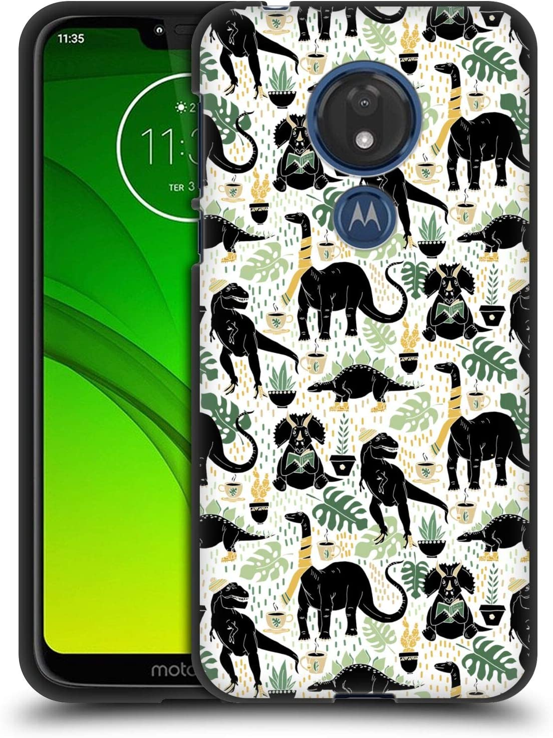 Head Case Designs Officially Licensed Tangerine-Tane Hipster Dinos Nature Art Black Soft Gel Case Compatible with Motorola Moto G7 Power