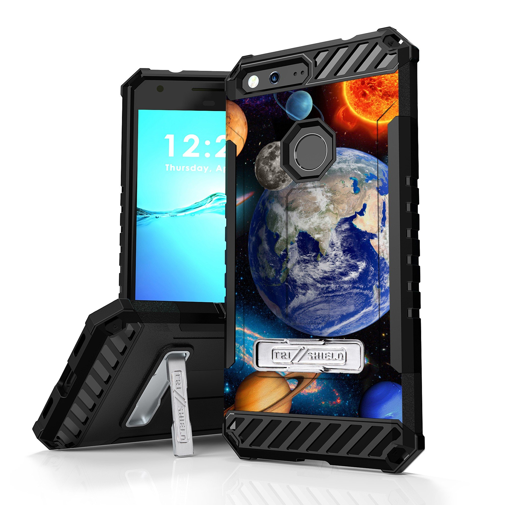 Google Pixel XL Case, Trishield Durable Rugged Armor Phone Cover With Detachable Lanyard Loop And Built in Kickstand Card Slot - Solar Planet Galaxy