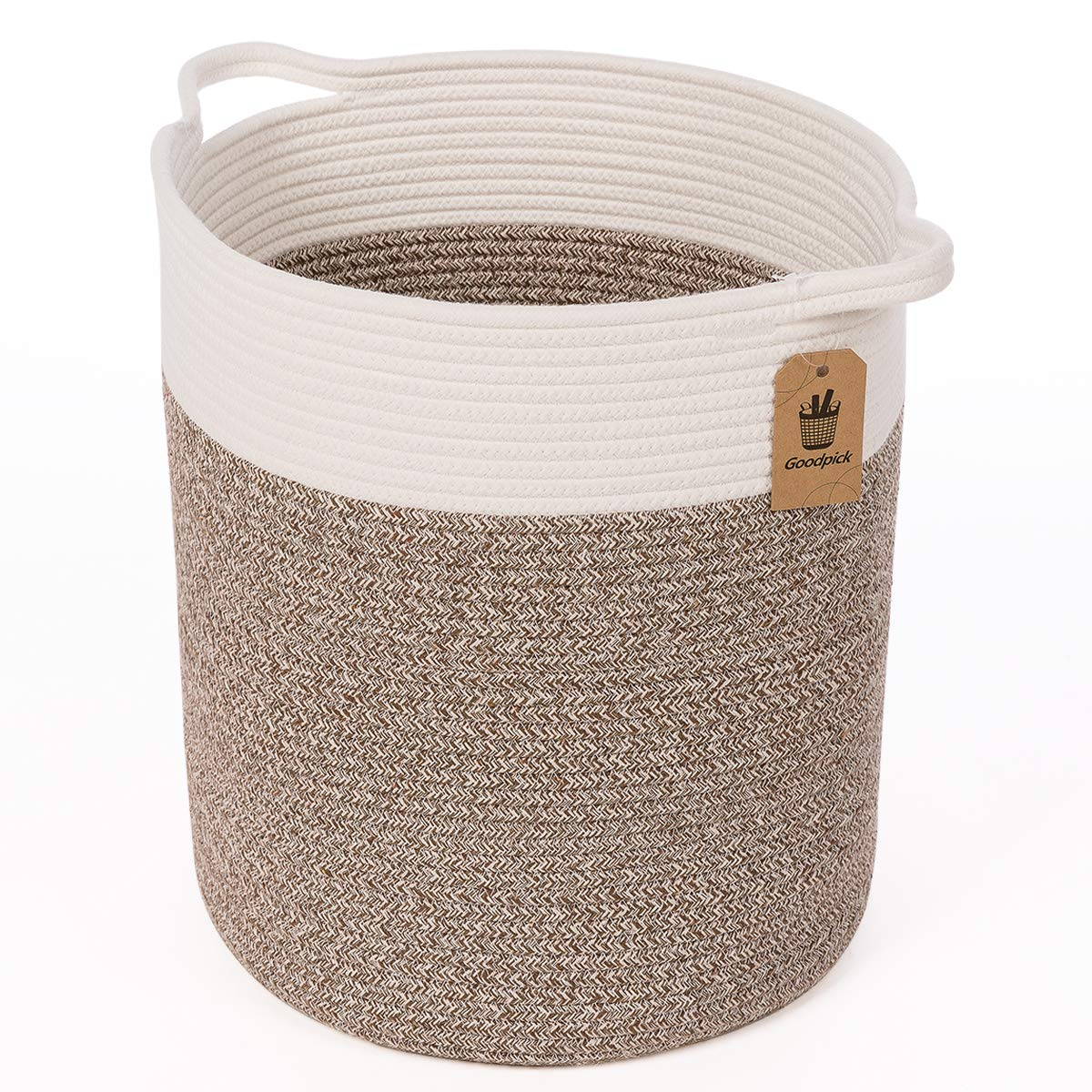 Goodpick Large Cotton Rope Basket - Woven Basket - Baby Laundry Basket - Blanket Basket - Toy Storage Magzines Containers Bin for Living Room Floor Nursery 15''x13''