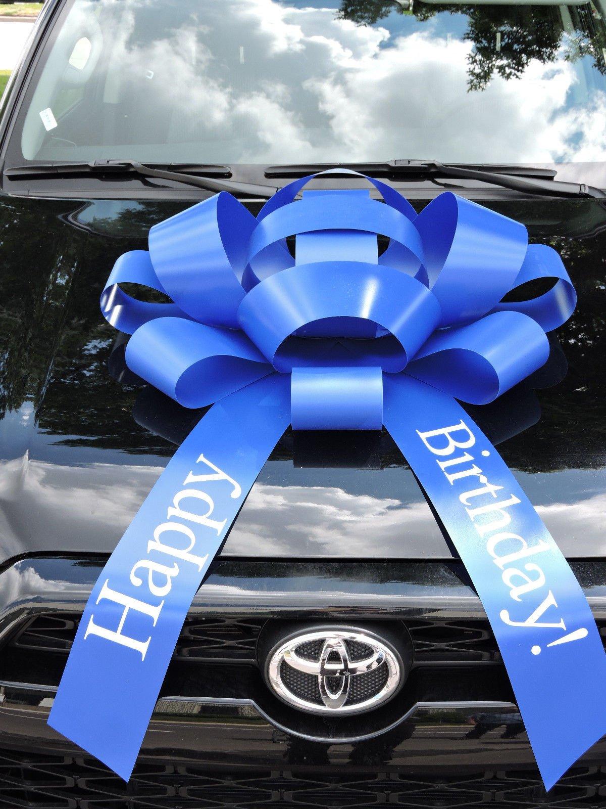 Eight24hours Blue Happy Birthday Car Bow Vinyl Magnetic Back No Scratch 2.5 feet - Blue