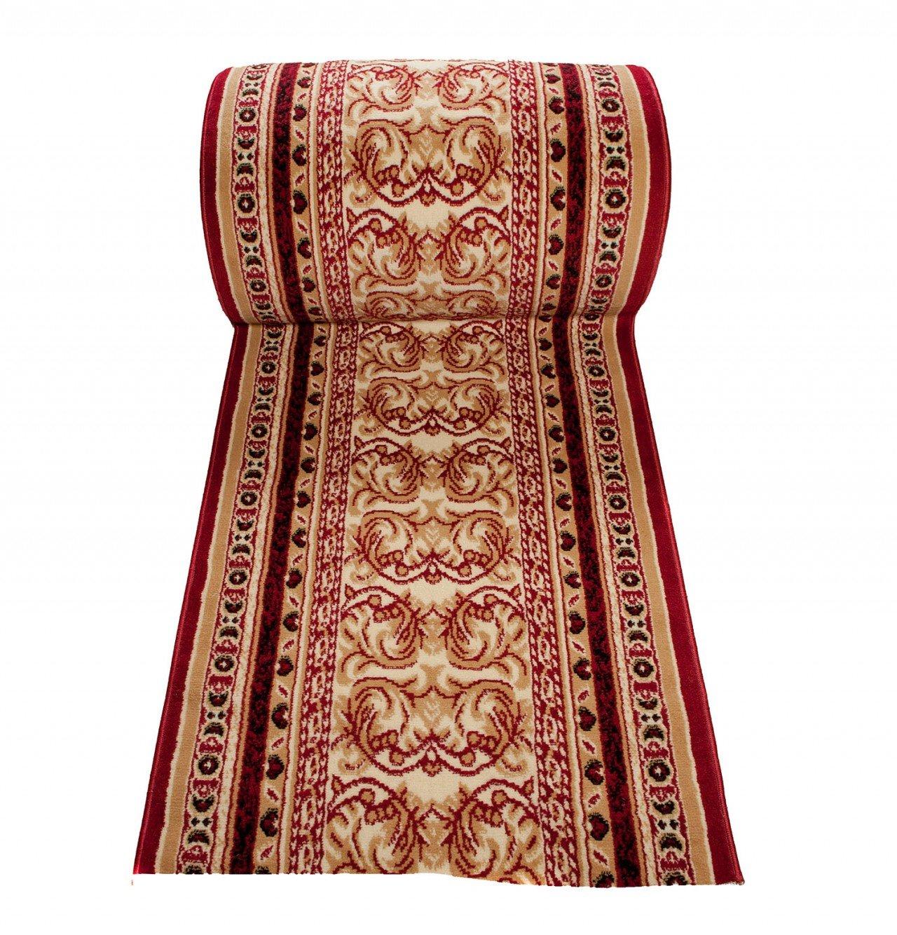 Tapiso Atlas Läufer Flur Kurzflor Teppich Küche Wohnzimmer Klassisch Blumen Floral Streifen Muster Traditionell Rot Beige ÖKOTEX 60 x 670 cm