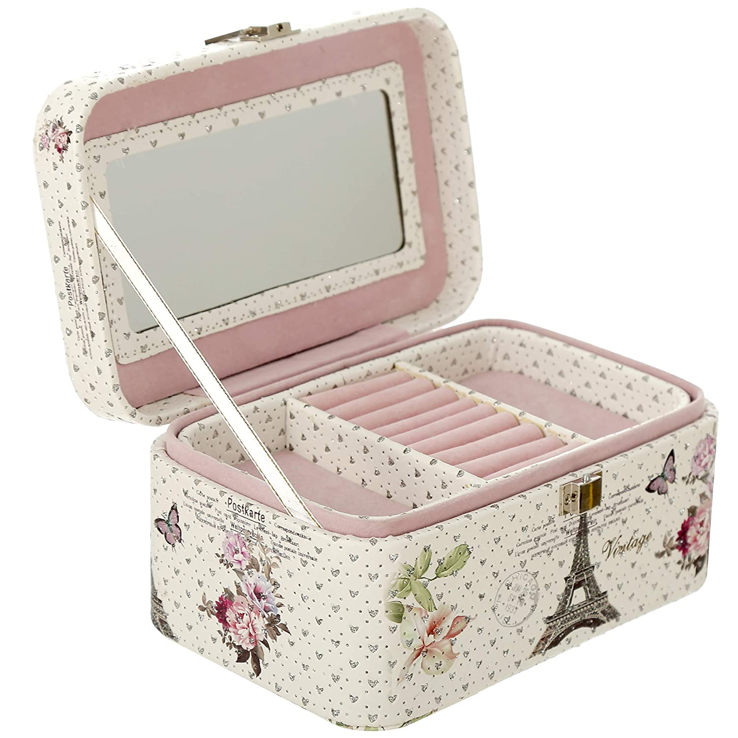 Faux Leather Pink Vintage Parisian Design Jewelry Organizer Box with Mirror MyGift