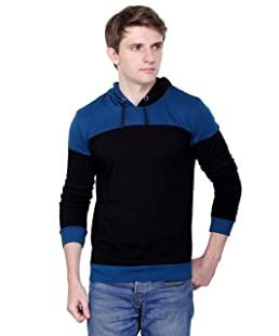 Fabstone Collection Men's Cotton Full Sleeve Casual Hooded T-shirt (Blue, Medium)