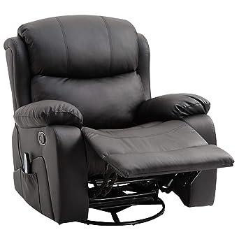 Poltrona Reclinabile Massaggiante.Homcom Poltrona Relax Massaggiante Riscaldante Reclinabile Ecopelle 94 103 100cm Nero