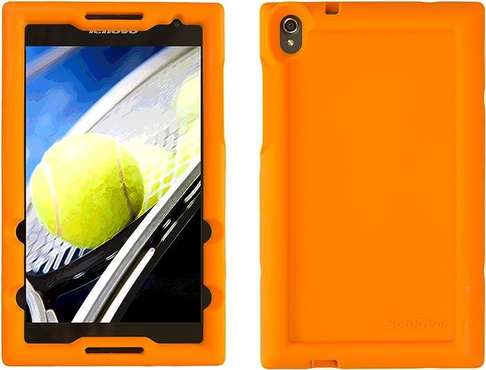 Bobj Rugged Case for Lenovo Tab S8-50 – BobjGear Custom Fit - Patented Venting - Sound Amplification - BobjBounces Kid Friendly (Outrageous Orange)