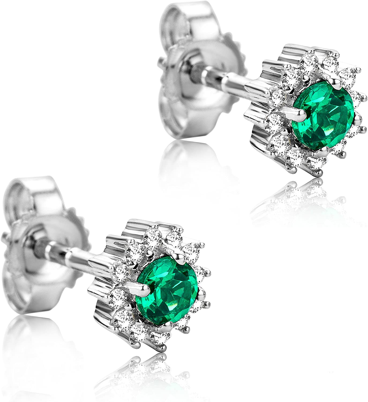 Orovi Pendientes Señora Solitario en Oro Blanco con Diamantes Talla Brillante 0.10 ct y Esmeralda Talla Redonda 0.2 Ct Oro 9 Kt / 375
