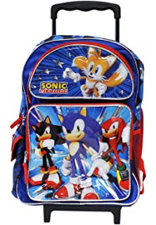 Full Size Blue and Red Sonic the Hedgehog Team Rolling Backpack