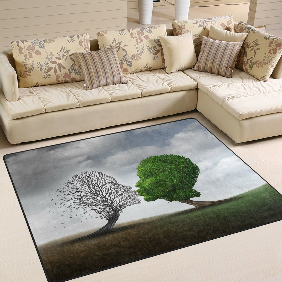ALAZA Skull Tree of Life Area Rug Rugs for Living Room Bedroom 5'3 x 4' g3513164p147c162s244
