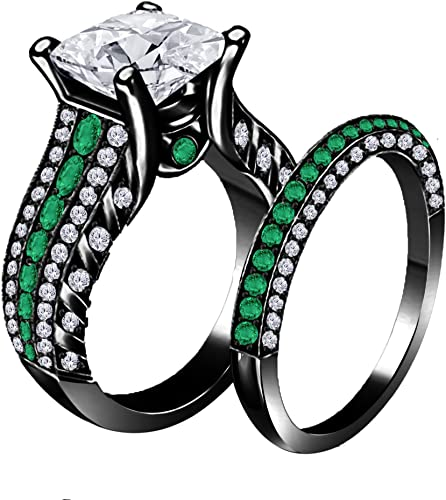 SVC-JEWELS 14K White Gold Plated Princess Emerald Mens Wedding Band Ring