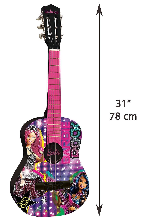 Barbie- Mattel-Guitarra clásica de 6 Cuerdas, 78 cm Largo, Material de Madera (Lexibook K2000BB), Color Rosa (