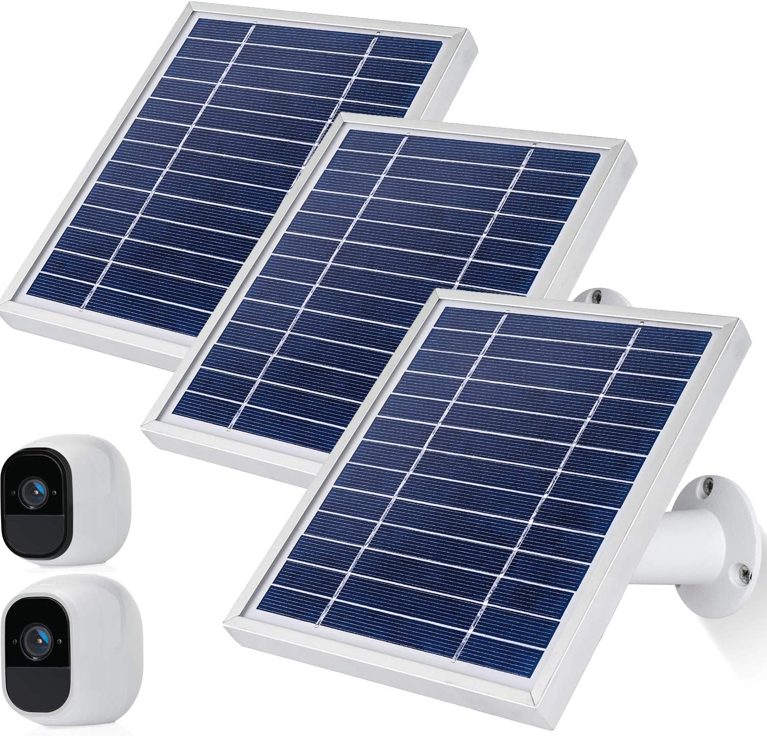 iTODOS Solar Panel Compatible with Arlo Pro and Arlo Pro 2 3 Pack,Silver 11.8Ft Outdoor Power Charging Cable and Adjustable Mount/