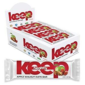 Keep Healthy Apple Walnut Fruit and Nut Bars - 100% Plant Based - Gluten Free, Non-GMO, Kosher, Dairy Free, Soy Free, Vegan Snack Bars (16 bars)