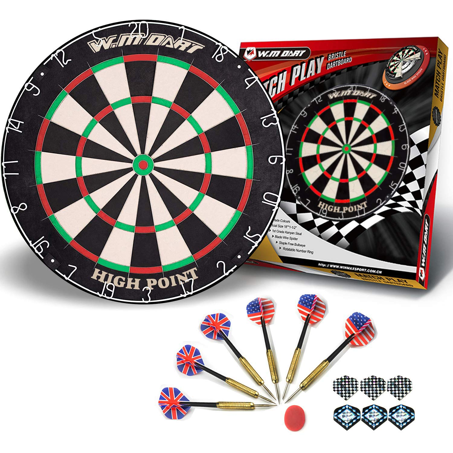 "WIN.MAX 18"" Bristle Dartboard Steel Tip Dart Board with Flights"