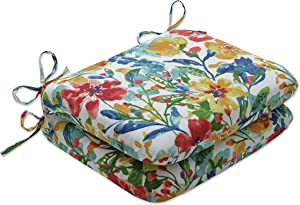 Pillow Perfect Outdoor | Indoor Oakmont Multi Rounded Corners Seat Cushion (Set of 2), 15.5 X 18.5 X 3, Blue