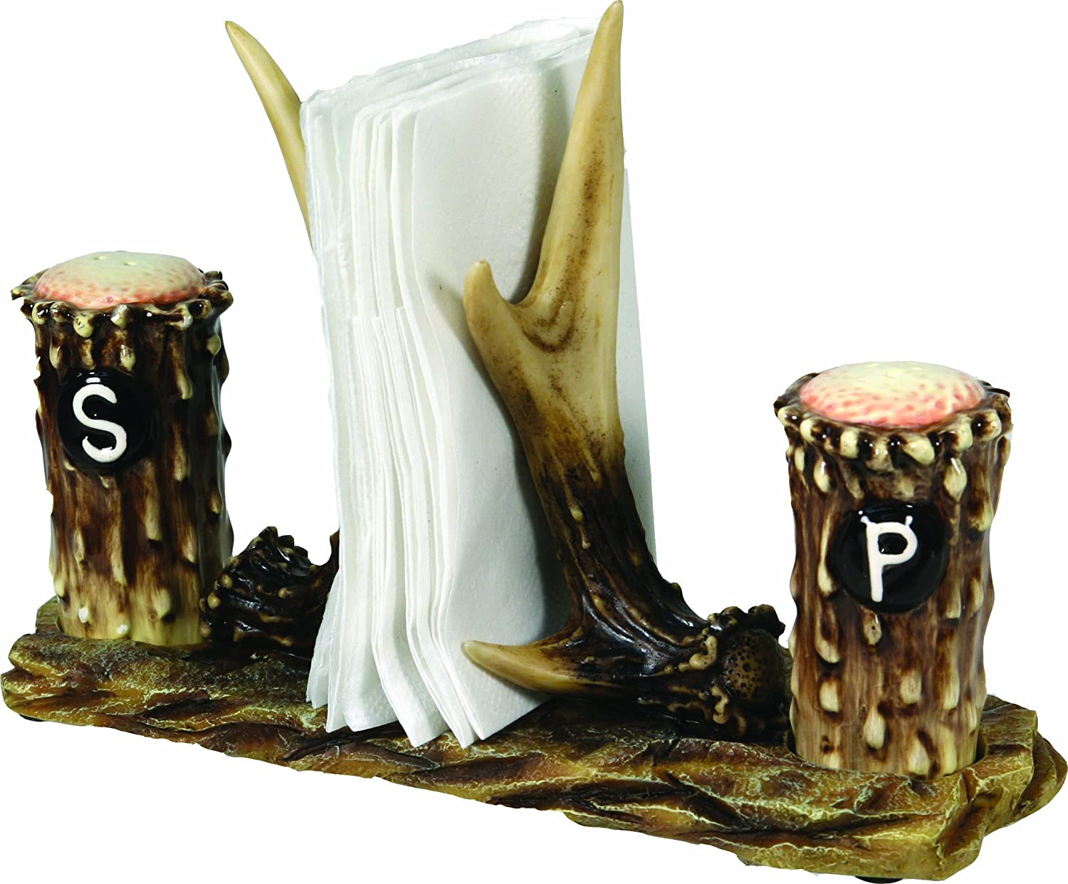 River's Edge 520 Hand Painted Poly Resin Antler Salt and Pepper Shaker with Napkin Holder Rivers Edge Products