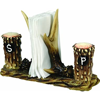River's Edge 520 Hand Painted Poly Resin Antler Salt and Pepper Shaker with Napkin Holder