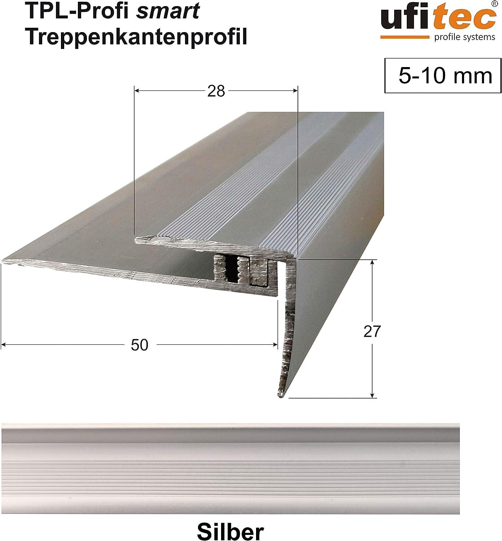 ufitec/® Profi Smart Profilsystem f/ür Vinylb/öden ALU eloxiert Bronze Dunkel - geeignet f/ür Belagsh/öhen von 5-9 mm Abschlu/ßprofil - L/änge: 270 cm, Bronze Dunkel