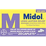 Midol Long Lasting Relief, Menstrual Pain Reliever & Fever Reducer, Caplets with Acetaminophen for Menstrual Symptom Relief -