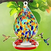Hummingbird Feeder for Outdoors, Hand Blown Glass Hummingbird Feeders for Color , Premium Brand Humming Bird Feeder of…