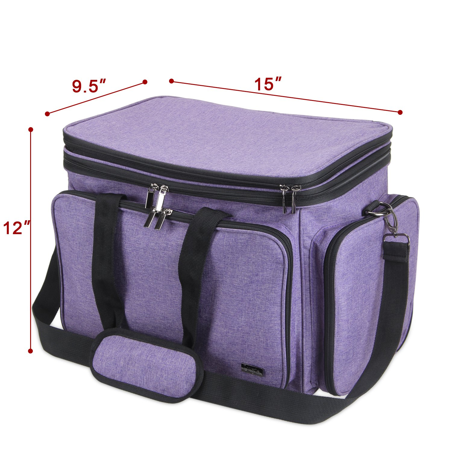 Luxja Knitting Bag, Yarn Bag with Cover and Shoulder Strap, Yarn Tote Bag for Carrying Projects, Knitting Needles (up to 14''), Circular Needles, Crochet Hooks and Other Accessories, Purple by LUXJA (Image #7)