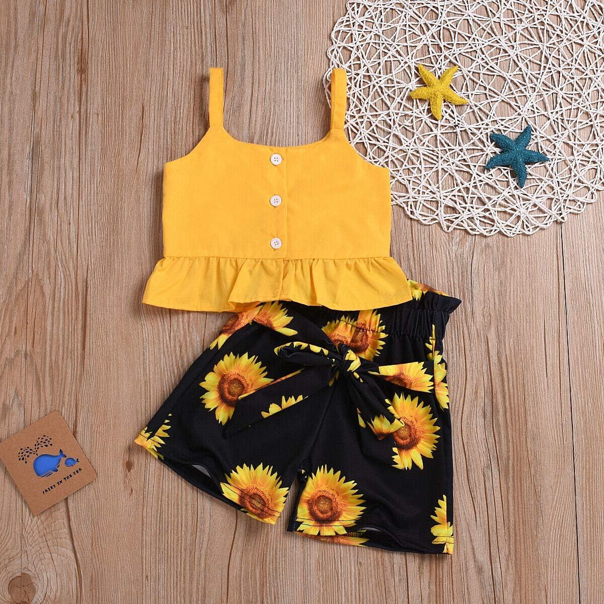 2PCS Toddler Baby Girl Summer Sleeveless Tank Tops Floral Waist Bowknot Sunflower Clothes