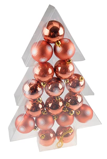 shatterproof christmas tree ornaments by clever creations large copper 60mm christmas decor 17 piece - Large Christmas Decorations