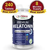 #1 BEST Premium Melatonin 240 Tablets 3mg ( 8 MONTHS SUPPLY ) 100% All Natural Sleep Aid Helps You Get Good Night's Sleep Natural Sleeping Pills Helps Fight Off Insomnia Also Helps Brain Health