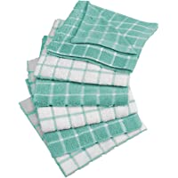 "DII 100% Cotton, Machine Washable, Ultra Absorbant, Basic Everyday 12 x 12"" Terry Kitchen Dish Cloths, Windowpane Design, Set of 6"