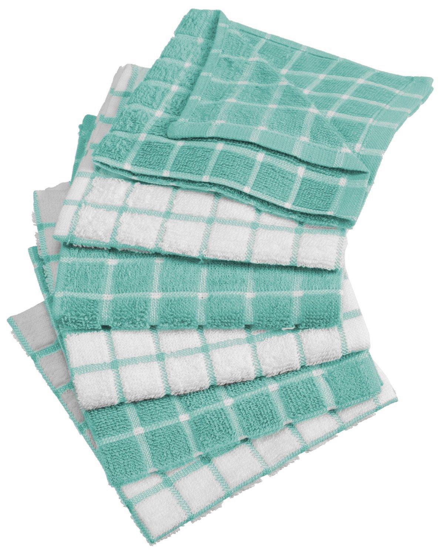 "DII Cotton Terry Windowpane Dish Cloths, 12 X 12"" Set Of 6"