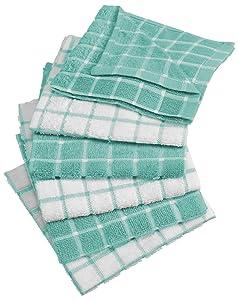 "DII Cotton Terry Windowpane Dish Cloths, 12 x 12"" Set of 6, Machine Washable and Ultra Absorbent Kitchen Dishcloth-Aqua"
