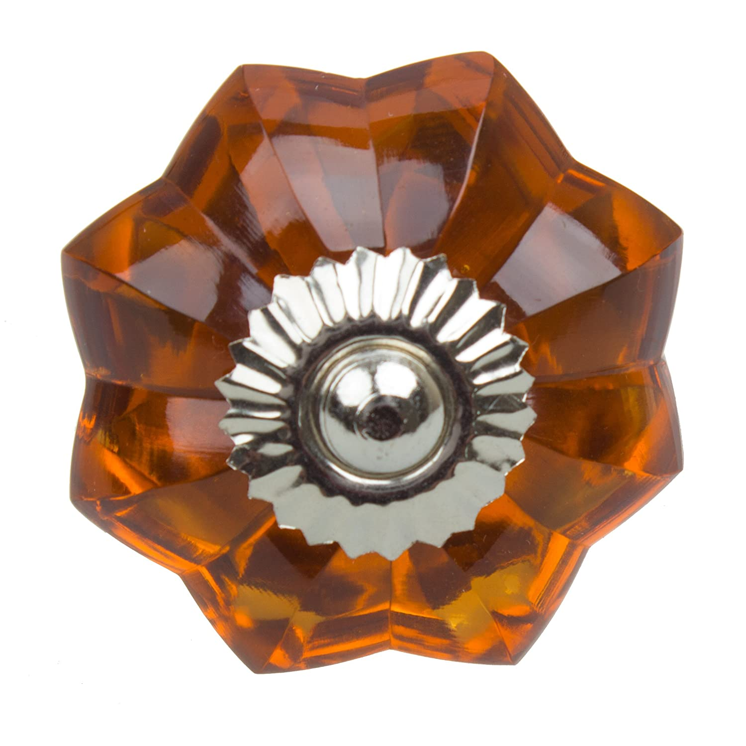 GlideRite Hardware 110170-A-10 1.75 inch Amber Colored Glass Flower Cabinet Knobs 10 Pack