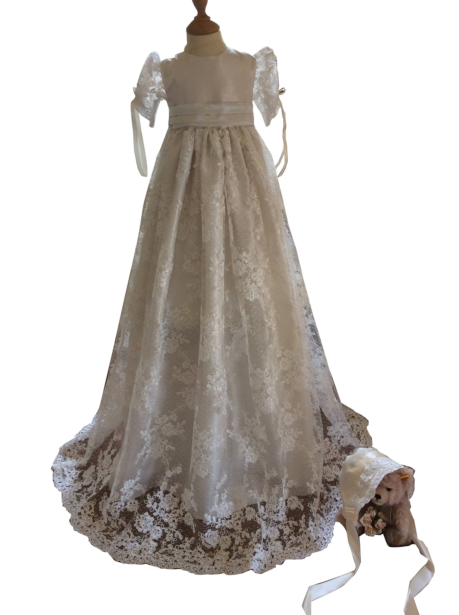 kelaixiang White/Ivory Lace Christening Dresses For Girls Baptism Gowns With Bonnet